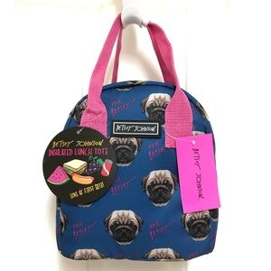 🐶 NWT Betsey Johnson Insulated Lunch Tote PUGS